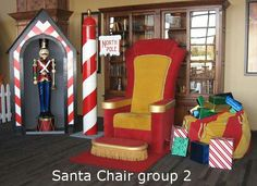 Optrics Santa Chair and toy bag ready for photos.