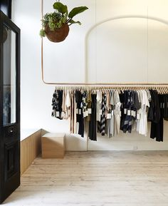 Minimal Bohemian Shops / via Sycamore Street Press Copper Clothes Rail, Wooden Clothes Rack, Hanging Clothes Rail, Pipe Clothes Rack, Hanging Rail, Clothes Hangers, Clothes Shelves, Clothes Rod, Ceiling Hanging