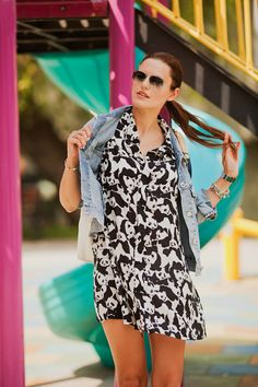 #panda #dress #zaful #denim #jacket #playful #style #styleblogger #triwa #watch #blue #fashionista #girl #streestyle #tomtop