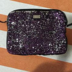 Nine West sequin padded laptop case Dimensions: 12.5x9 purple and silver sequins EUC no visible wear, just some wrinkles from storage Nine West Bags Laptop Bags