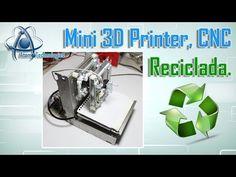 Atomo Technologies: Impresora 3D Reciclada con lectores de CD y Arduino Raspberry Pi, 3d Cnc, Mini, Cnc Machine, Electronics Projects, 3d Printer, Youtube, Circuits, Printers