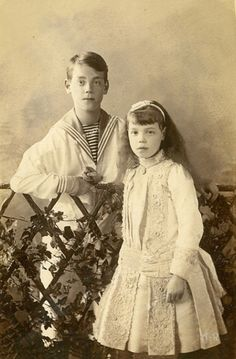 Grand Duke Michael Alexandrovich (1878 – 1918) and Grand Duchess Olga Alexandrovna (1882 – 1960), siblings of Nicholas II of Russia; 1880s. #Romanov