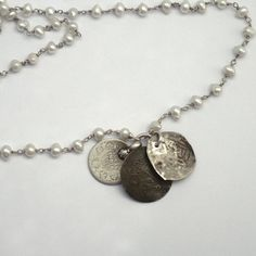 Ancient Coin Necklace  White Pearl Rosary Chain by sherrigallagher, $93.00