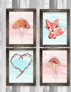 Woodland art print, fox art, childrens art, instant download, printable children art, mushroom and fox art, watercolor art, 4 prints, diy. Decorating your childs room in a woodland theme? These prints would be great! This is an INSTANT DOWNLOAD. No physical print will be mailed. You download and print.