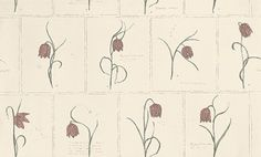 Lilja (552-24) - Sandberg Wallpapers - A tile effect with pink tulip flowers shown on cream. This is a paste the wall product.  Please request a sample for true colour match.