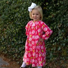 11/19/2013  Pink Floral Cord Yoke Dress