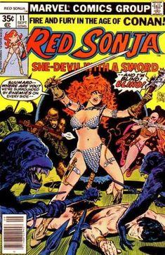 """""""Sightless in a Strange Land"""" UK Price Cover Marvel Comic Book Red Sonja 11 B Marvel Comics, Conan Comics, Bd Comics, Ms Marvel, Marvel Comic Books, Comic Book Characters, Comic Books Art, Book Art, Red Sonja"""