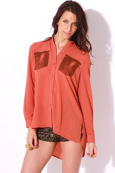 #1015store.com #fashion #style audrey ann burnt rose pink sheer chiffon military button up tunic blouse-$15.00