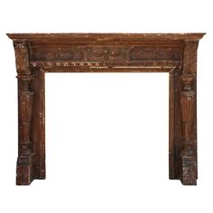 Marvelous Antique Walnut Fireplace Mantel, 19th Century