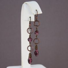 Niobium earrings dark copper and Swarovski Amethyst long and dangly by EarthsOpulence on Etsy, $19.47 CAD