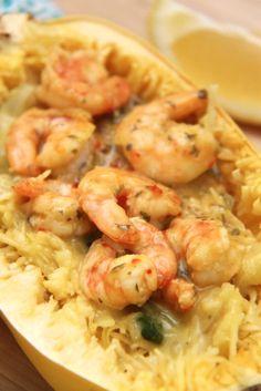 Recipe: Skinny Creamy Garlic Shrimp with Spaghetti Squash - Smashed Peas & Carrots Shrimp Spaghetti, Garlic Spaghetti, Spaghetti Squash, Seafood Recipes, Keto Recipes, Healthy Recipes, Potted Shrimp, Zucchini Pasta, Garlic Shrimp