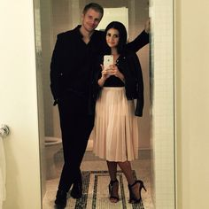 Sean and Catherine Lowe pink skirt