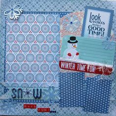 winter premade single scrapbook page snow much fun by urbansavanna