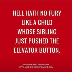 Hell hath no fury like a child whose sibling just pushed the elevator button