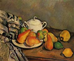 Sugarbowl, Pears and Tablecloth, 1894, Paul Cezanne  Medium: oil on canvas