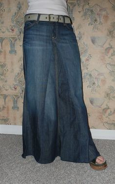 Love this jean skirt made out of pants! i think i have one made by the same person. i lovee it.