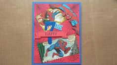 I made this birthday card for my son's friend who is turning 7. I used paper, embossing powder  and stamps from general craft stores (even the spiderman paper ). I hand cut the spiderman and the zigzag cut was made with Fiskars scissors.  The number 7, banner and flag were cut with the Stampin Up framelit set Large Numbers and I used the matching stamp set Number Of Years. For ink I used Stampin up Basic Black and Night Of Navy.