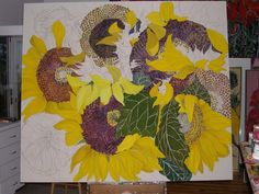 Evolution Of A Painting Sunflower Images, Sunflower Art, Watercolor Sunflower, Pencil Painting, Painting & Drawing, Canadian Artists, Abstract Flowers, Pictures To Paint, Painting Techniques