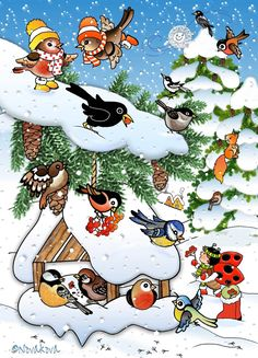 Feed The birds! Farm Crafts, Diy And Crafts, Crafts For Kids, Winter Activities For Kids, Christmas Bird, Winter Images, Clipart, Teaching Kids, Cardmaking