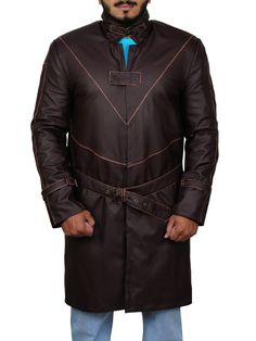 The Watch Dogs Aiden Pearce Coat Jacket is available in distressed brown color of leather. It has an open front with a Velcro strap closing to add to the boldness of the coat. Leather Collar, Leather Men, Leather Jackets, Dog Jacket, Dog Wear, V Cuts, Dog Coats, Shirt Sleeves, Shop Now