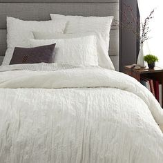 Crinkle  Duvet Cover + Shams - Stone White #westelm with soft grey stripped sheets