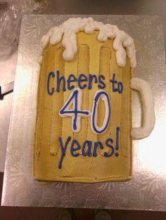 Kevin's birthday cake. Beer mug.