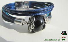 Lederarmband mit Stein Perle, blau, türkis von Bijouxbaron_24 auf DaWanda.com