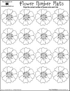 Flowerpot Number Mat Counting 1 to 10  |  A to Z Teacher Stuff Printable Pages and Worksheets