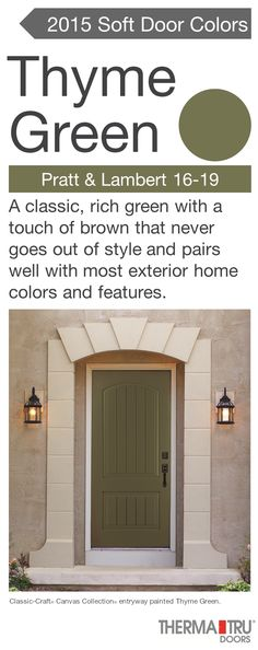 Classic-Craft Canvas Collection fiberglass door painted Thyme Green – one of the hot door colors for
