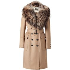 BURBERRY Linmouth Camel Coat With Detachable Fur Collar ($2,140) ❤ liked on Polyvore featuring outerwear, coats, jackets, coats & jackets, fur, double-breasted coat, collar coat, beige coat, fur coat and fox fur coat