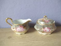 antique sugar bowl and creamer set, Coiffe Limoges France, hand painted pink white roses gold