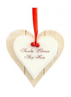 Santa Stop Here Double Heart Plaque @ rosefields.co.uk