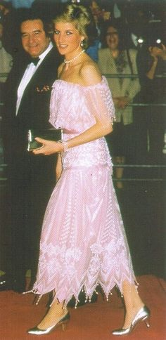 Diana, Princess of Wales wore this dress on an official visit to Japan in 1986.