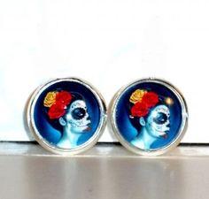 Ohrstecker Sugar Skull mit Glas Cabochon handgemacht Neuware