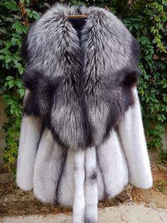 REAL NEW MINK FUR COAT BLACK CROSS FOX NAFA FULL SKIN SAGA MEXA NERZMANTEL SABLE…