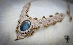 Labradorite macramé necklace, micromacrame, boho jewelry, macrame necklace, tiara, boho, elven,gypsy jewelry ,gifts for her,ethnic jewelry