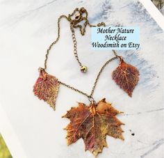 Mother Nature Real Leaf necklace, Copper maple and birch leaves, copper chain, jade bead, from Natures leaves