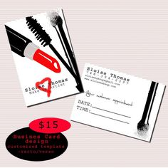 Make up artist business card design printable by sugarbushsupplies, $15.00