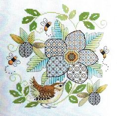 Here's Blackwork Flower with Wren, a blackwork pattern by Lesley Teare Designs featuring a mix of blackwork and cross stitch. Indeed, designer Lesley Teare blends two very different techniques of needlework into a single design. The main flower, as well a Motifs Blackwork, Blackwork Cross Stitch, Blackwork Embroidery, Cross Stitch Bird, Learn Embroidery, Cross Stitch Flowers, Cross Stitch Designs, Cross Stitching, Cross Stitch Embroidery