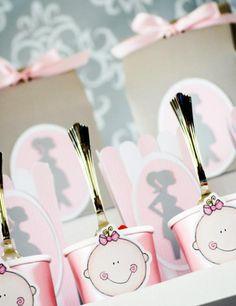 Pink Silhouette Baby Shower - #Babyshower Baby Face Dessert Cups -  Bella Paris Designs