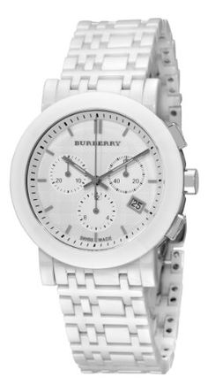 Burberry Women's BU1770 Ceramic White Chronograph Dial Watch Burberry is a British luxury fashion house, manufacturing clothing, fragrance, and fashion accessories. Its distinctive tartan pattern, a type of plaid pattern, has become one of its most widely mimicked trademarks. Burberry was founded in 1856 by 21-year-old Thomas Burberry. White ceramic case and bracelet, push button deployant clasp, white dial, date at the 4 o'clock position, chrono...