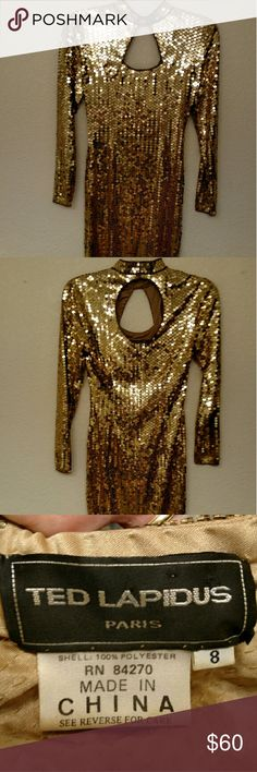 Vintage Designer Ted Lapidus Dress Vintage Designer Ted Lapidus Dress. Size 8. True to size. Gold sequin dress. Cut outs at neck on both front and back. Ted Lapidus  Dresses