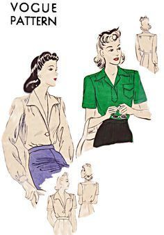 40s Blouse in Two Styles, Bishop Sleeves, Plunging Neckline, Short Sleeve Option, Bust 34, Hip 37, Vogue Sewing Pattern 9124, Unprinted by TheGrannySquared on Etsy