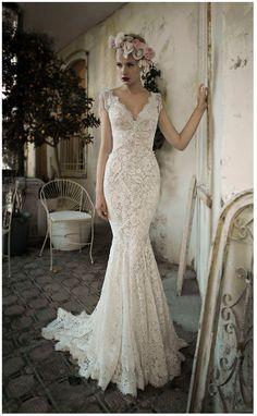 Sheath/Column Captivating V-neck Short Sleeves Beading Court Train Lace Online Wedding Dress For Sale
