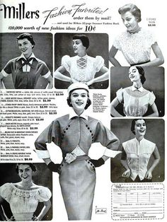 Millers Fashion Favorites, April 1951. #vintage #1950s #shirts #suits