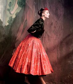Colorful Fashion on Vogue from the 1940s and 1950s dress skirt red black color photo