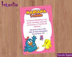 Convite Digital Galinha Pintadinha Menina no Centerpieces, Digital Invitations, Ideas Aniversario, Invitation Birthday, Kids Part, Girl 1st Birthdays, Hens, Parties Kids, Invitations