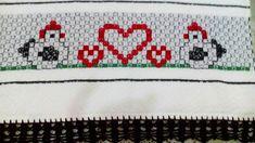 Bordado em tecido xadrez - Pano de Copa/Amostra do Barradinho (Detalhes sobre o bordado... Visitar)