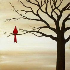 Red Bird Original Acrylic Canvas by SugarCreekArt on Etsy BTW, get this cool art…Original acrylic on canvas, 20 x One bright spot of color, a crimson cardinal perched regally in a leafless tree painted in silhouette. Acrylic Canvas, Bird Painting Acrylic, Canvas Canvas, Tree Canvas, Painted Canvas, Canvas Ideas, Beginner Painting, Easy Paintings, Tree Painting Easy