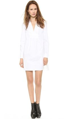 Thakoon Addition Long Sleeve V Front Shirtdress